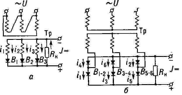 Схемы выпрямителей трёхфазного